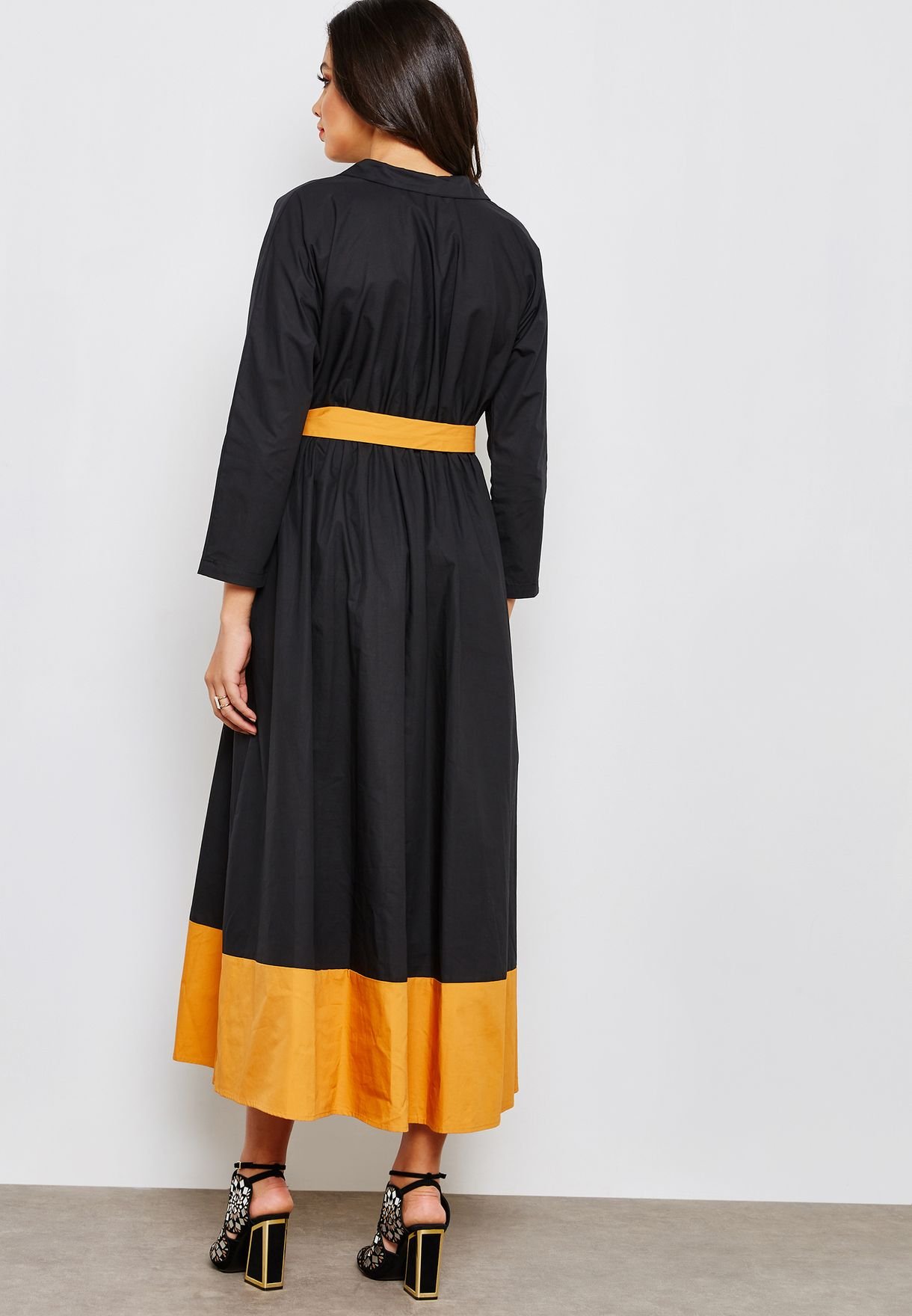 Pocket Detail Tie Waist Dress