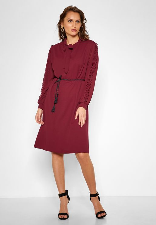 Tie Neck Tassel Belted Midi Dress
