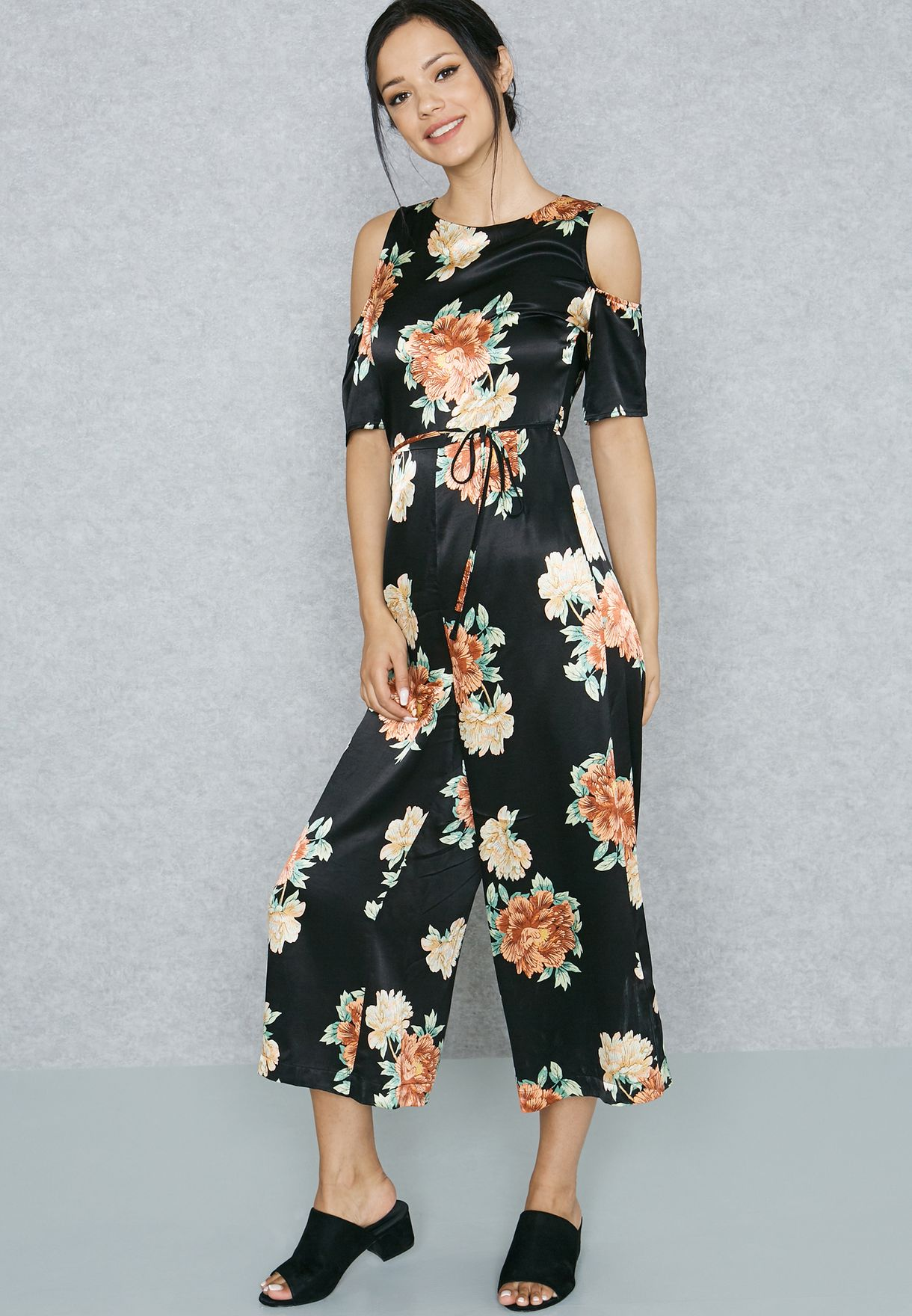 5780d56059c0 Shop Topshop black Floral Cold Shoulder Jumpsuit 16W38KBLK for Women in  Oman - TO856AT35SRO