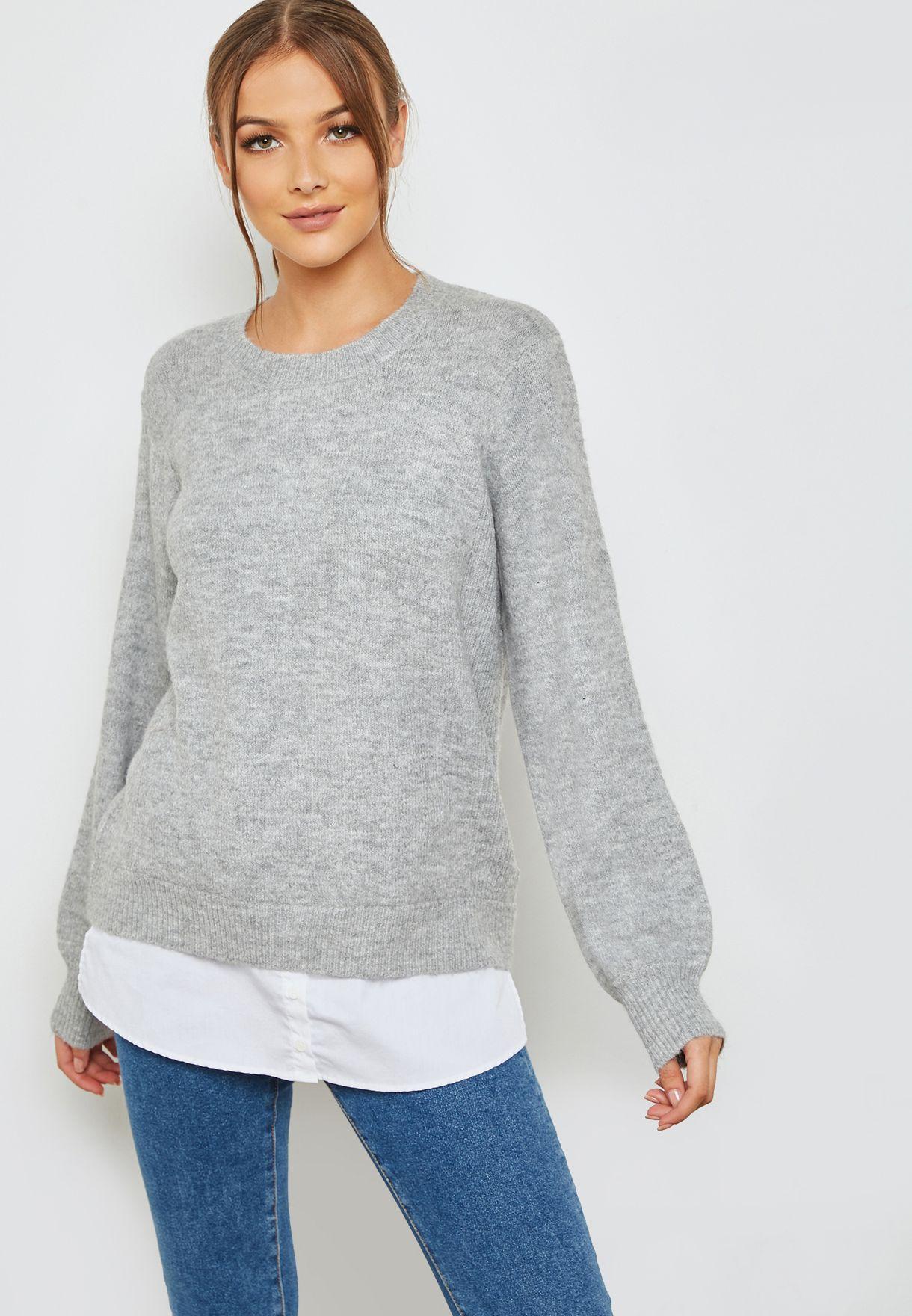 c4ffe5df68b Shop Dorothy Perkins grey Tie Back 2 In 1 Sweater 55448020 for Women ...
