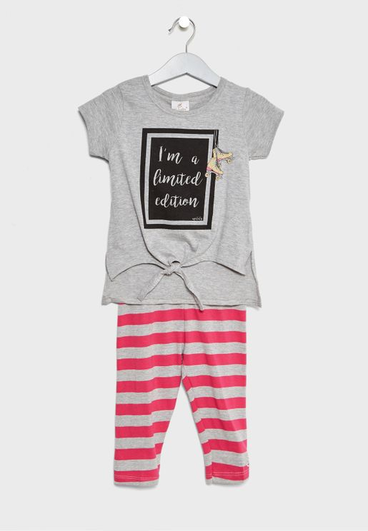 Infant Slogan Top + Capri Set