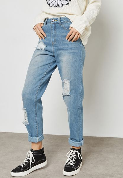 Mid Wash Ripped Jeans