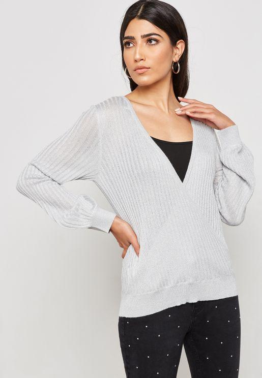 Surplice Ribbed Sweater
