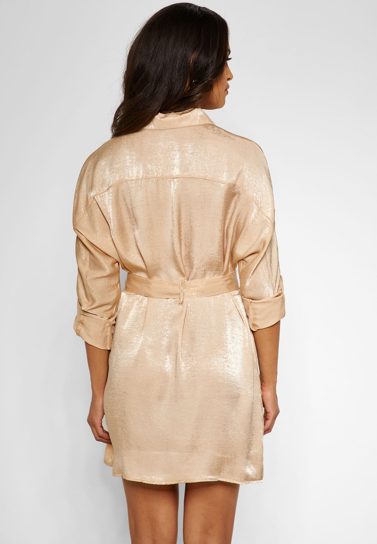 Satin Tie Waist Utility Shirt Dress