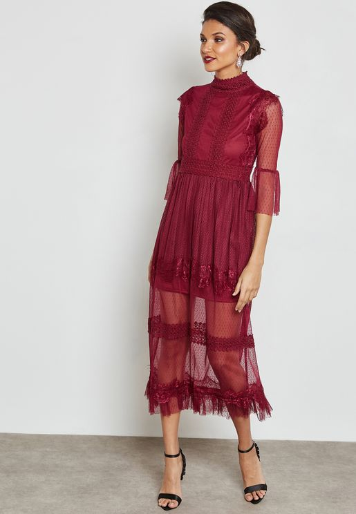 High Neck Lace Sheer Dress