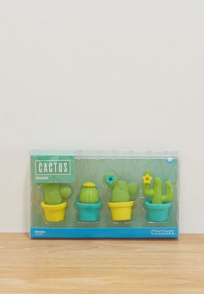 4 Pack Cactus Shaped Erasers