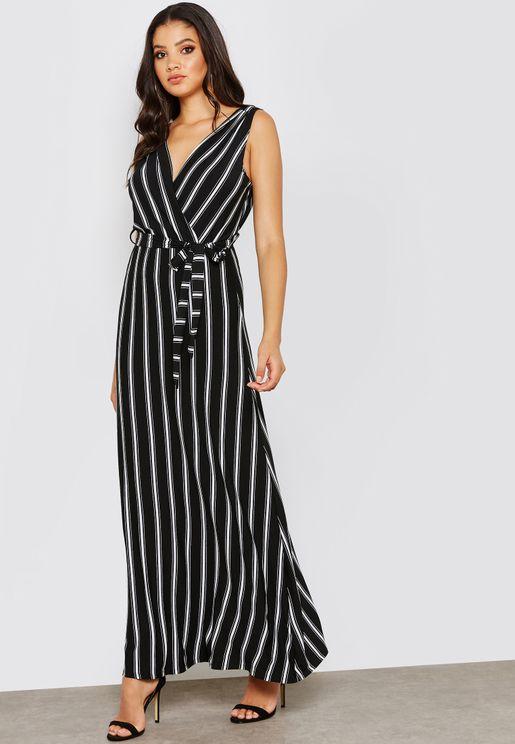 Stripe Detail Wrap Maxi Dress