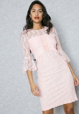 Lace Ruffle Cuffed Dress