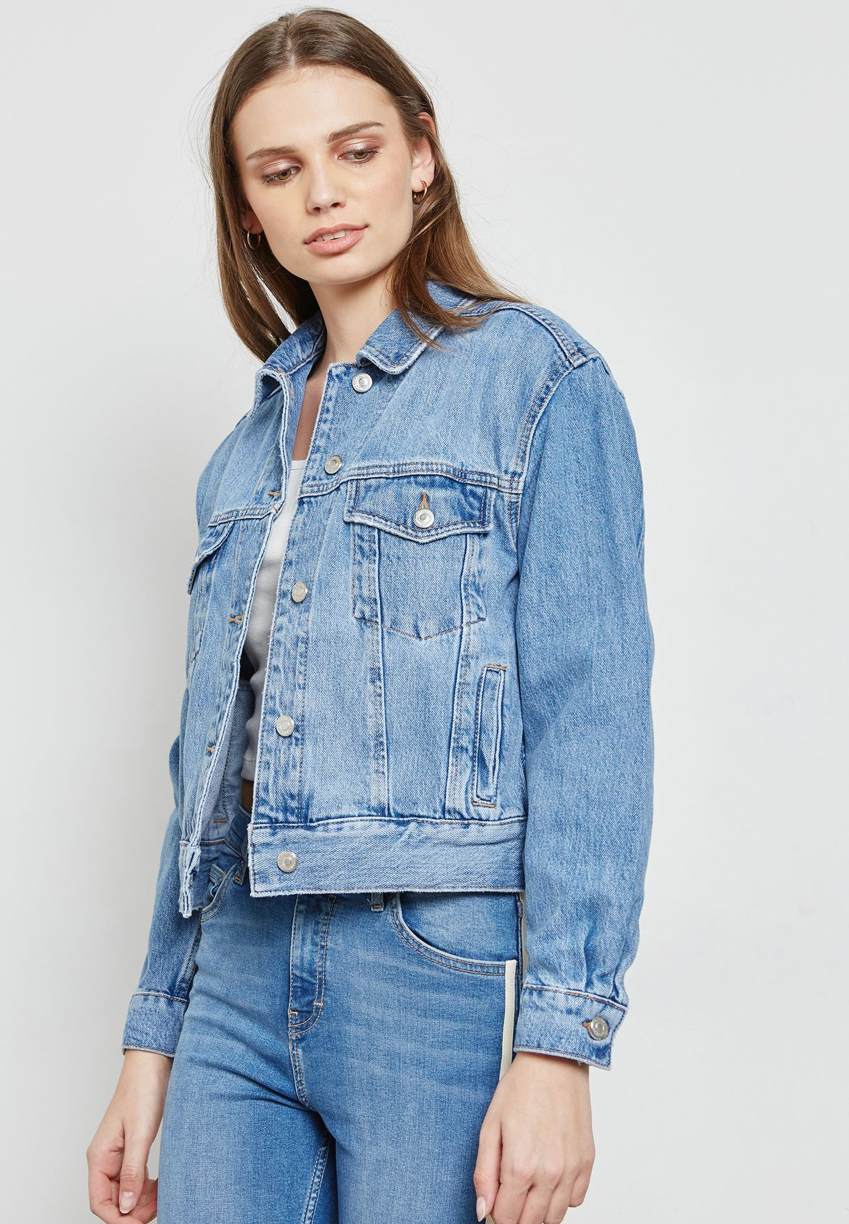 5cc5bdebcbb Shop Topshop blue MOTO Oversized Denim Jacket 05J08NMDT for Women in ...