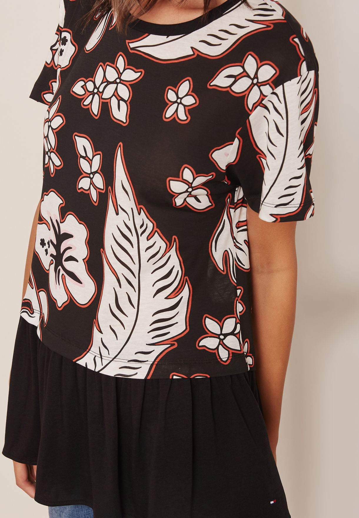 Dalton Printed Pleat Detail Top