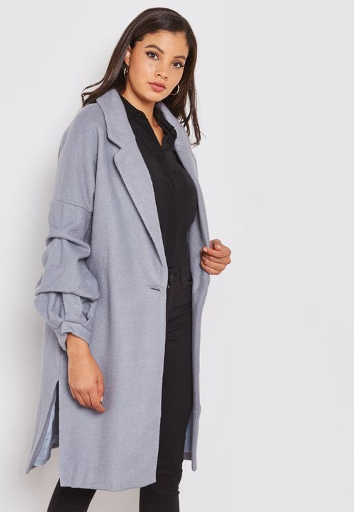 d139c740f31e Gathered Puff Sleeve Wool Coat