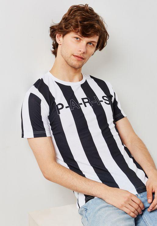 Paris Stripe Crew Neck T-Shirt