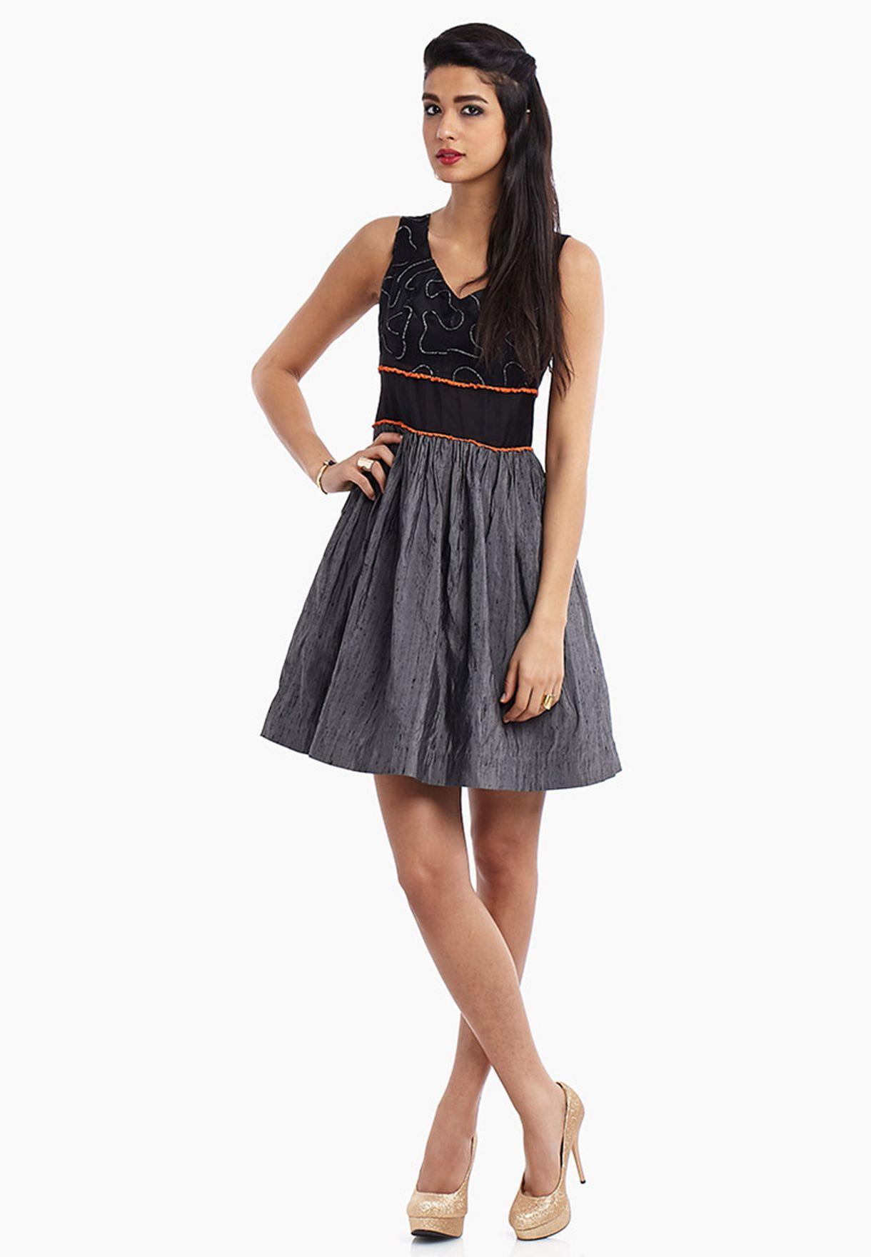 Shop Baruni black Silk Skater Dress for Women in Saudi ... c5db28224