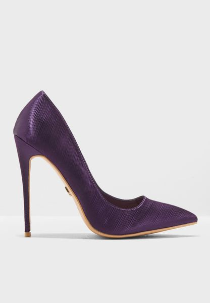Satin Textured Court Shoe