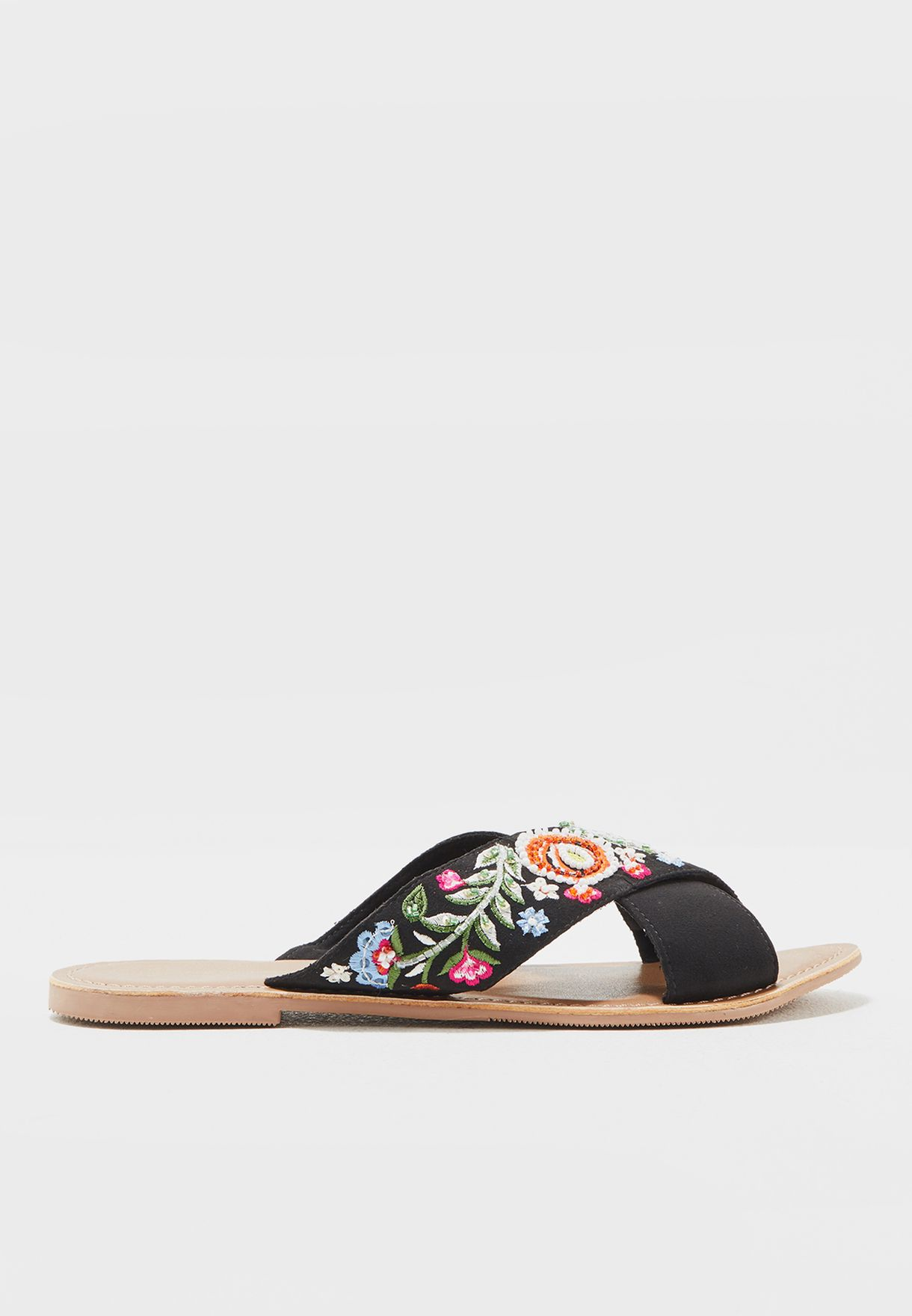 Gizelle Embroidered Cross Strap Sandal