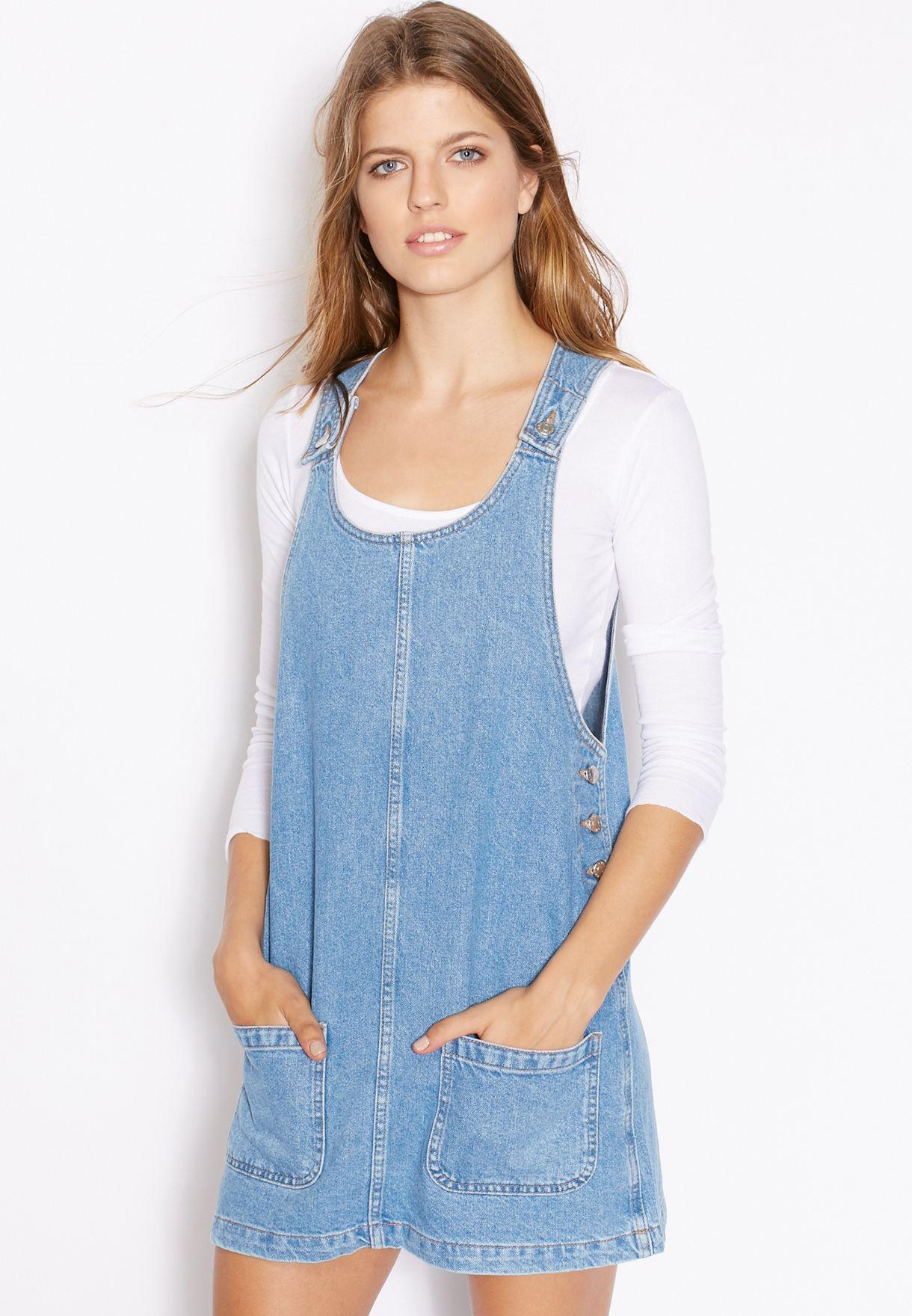 390501ccb777d Shop Topshop blue MOTO Denim Pinafore Dress 05G75JMDT for Women in ...