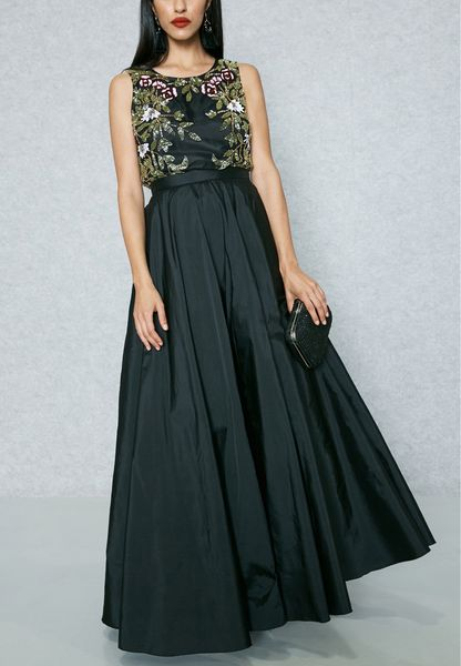 Embroidered Crop Top & Taffeta Skirt Set