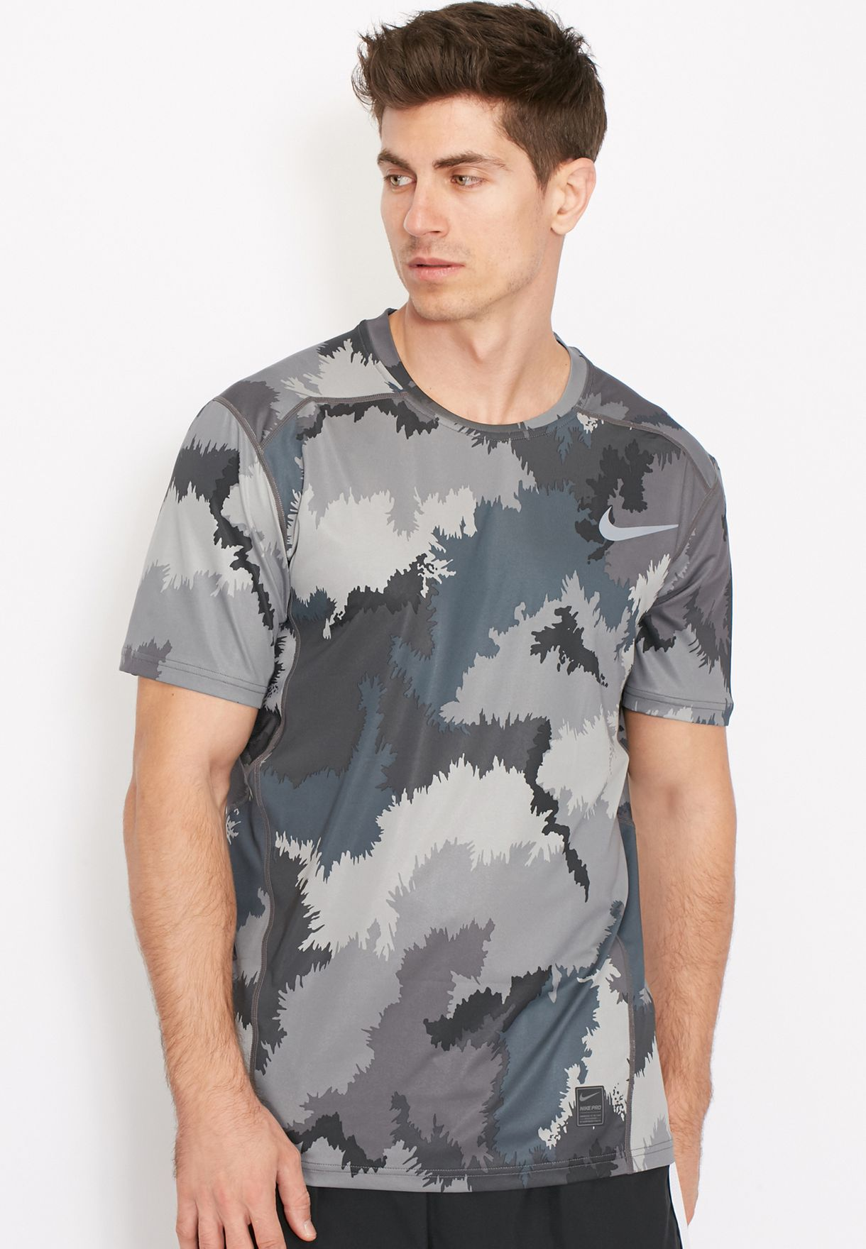c15b4b0df Shop Nike grey Hypercool AOP Fitted T-Shirt 801805-005 for Men in ...