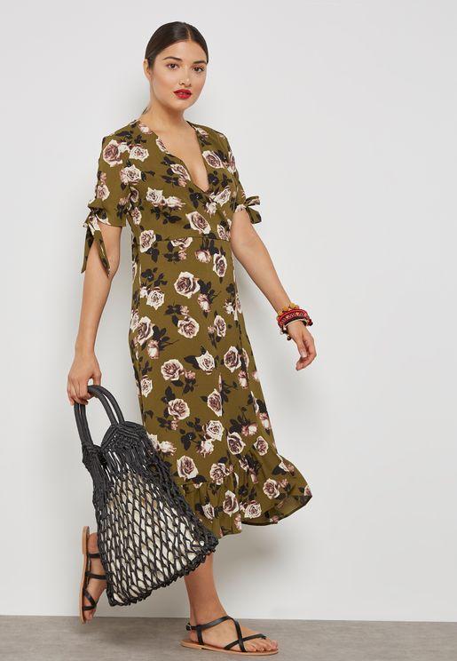 Floral Print Wrap Front Ruffle Hem Dress