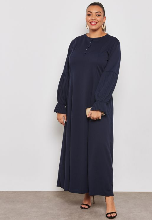 Pleated Puffed Sleeve Maxi Dress