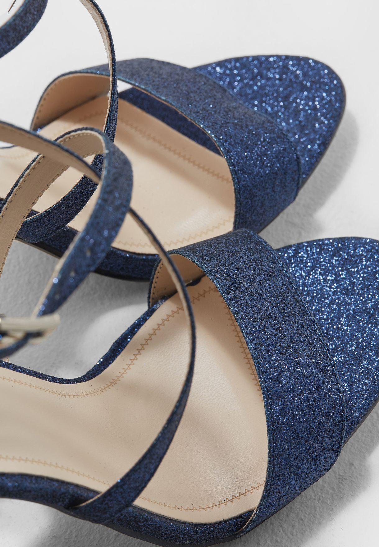 Buy Quiz navy Blue Glitter Cross Strap