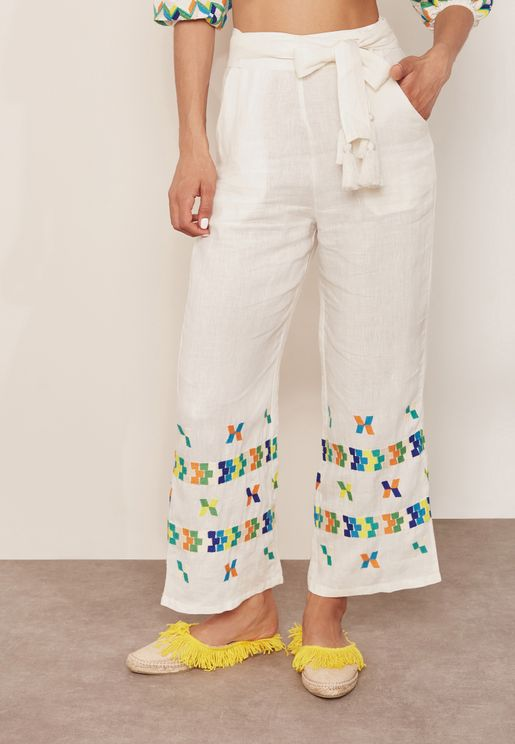 Embroidered Tie Waist Pants