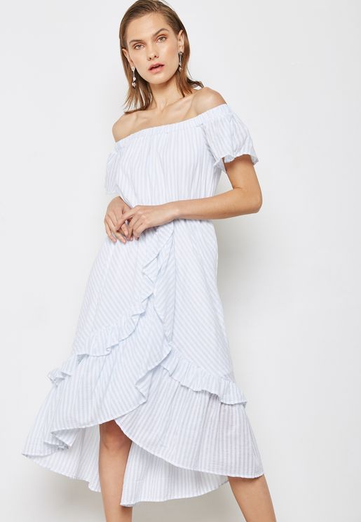Stripe Ruffle Shift Dress