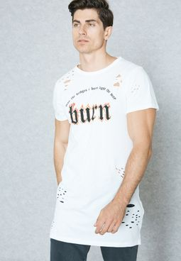 Burn Distressed Longline T-Shirt