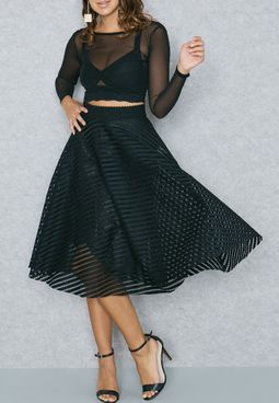 Striped Mesh Skater Skirt