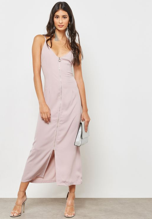 Zip Through Slip Dress