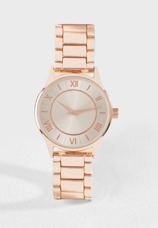 Roman Dial Metallic Watch