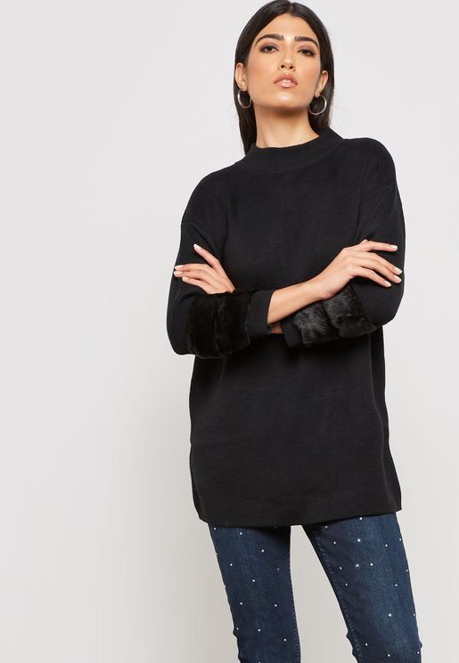 Fur Sleeve Detail Sweater