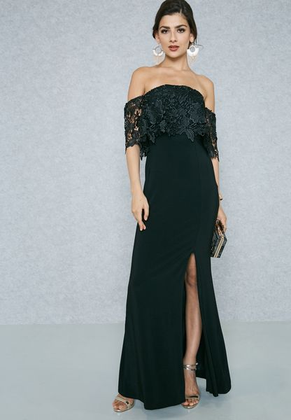 Lace Ruffle Bardot Bandeau Slit Dress