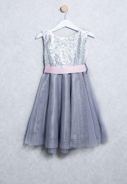 Kids Sequin Belt Dress