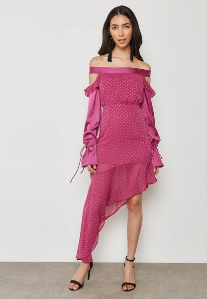 Asymmetric Tie Sleeve Bardot Dress