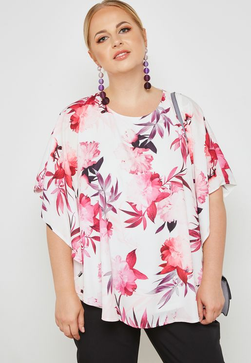 Overlay Floral Print Top