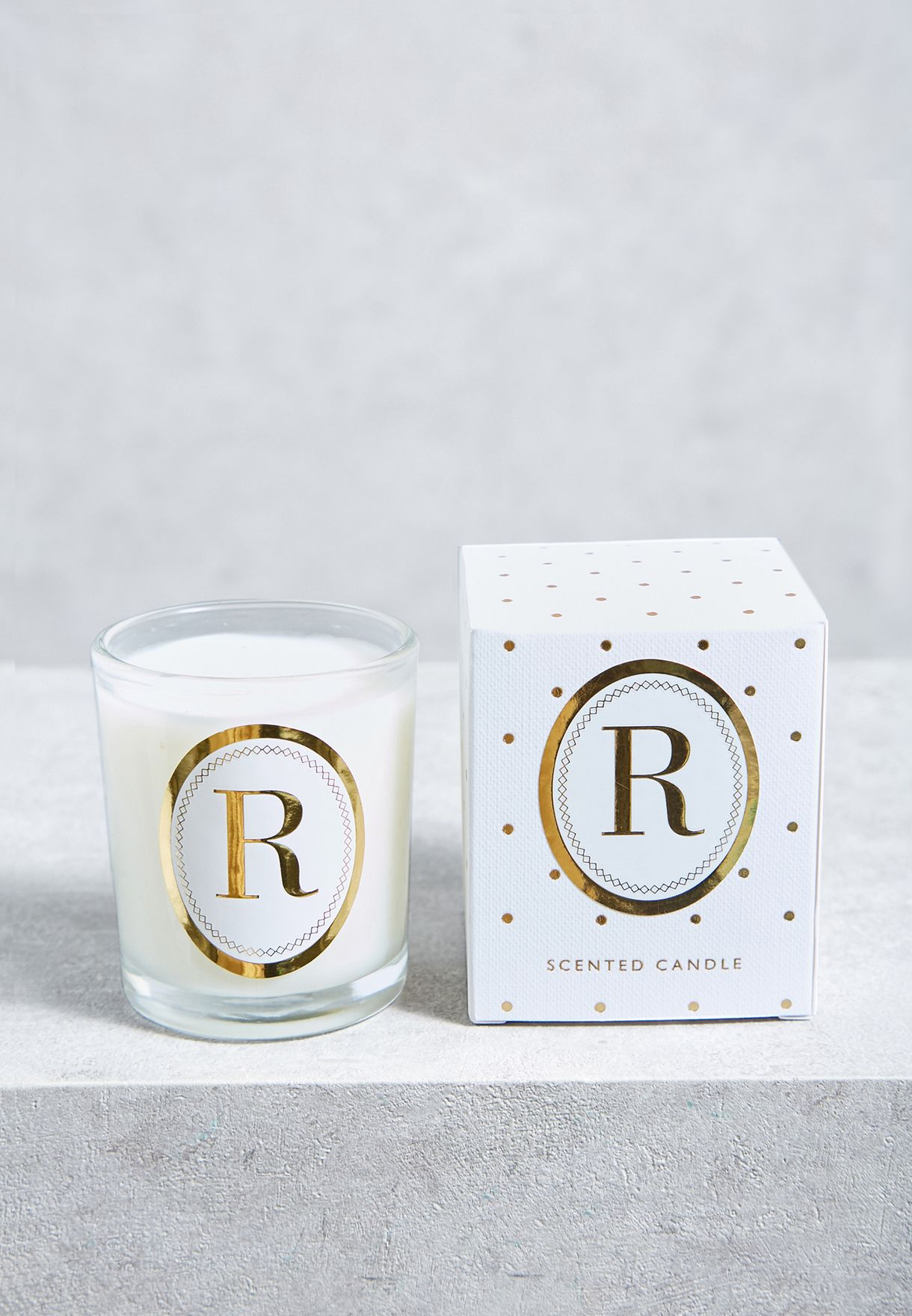 R Alphabet Votive Candle