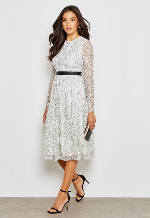 Lace Pleated Printed Long Sleeve Dress