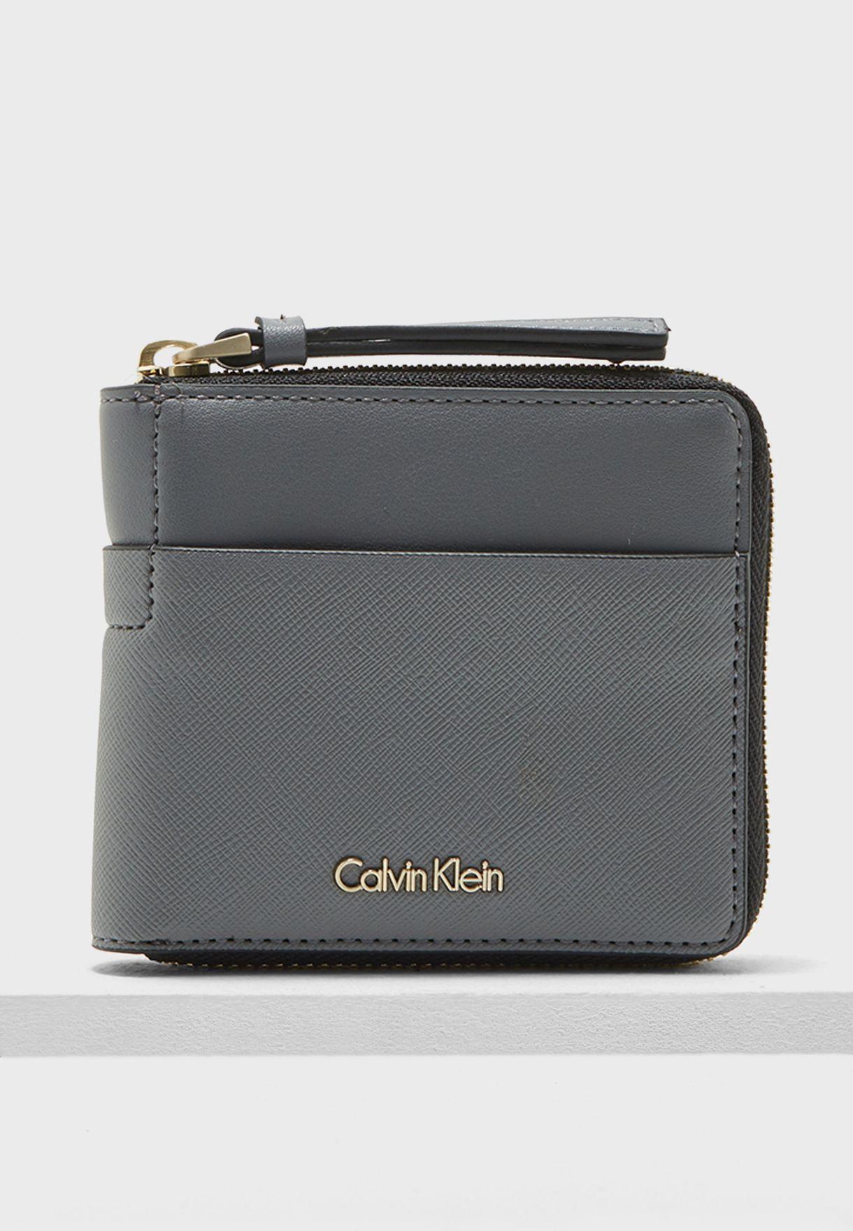 0ff02e5cc8 Shop Calvin Klein grey Small Marissa Zip Around Purse ...