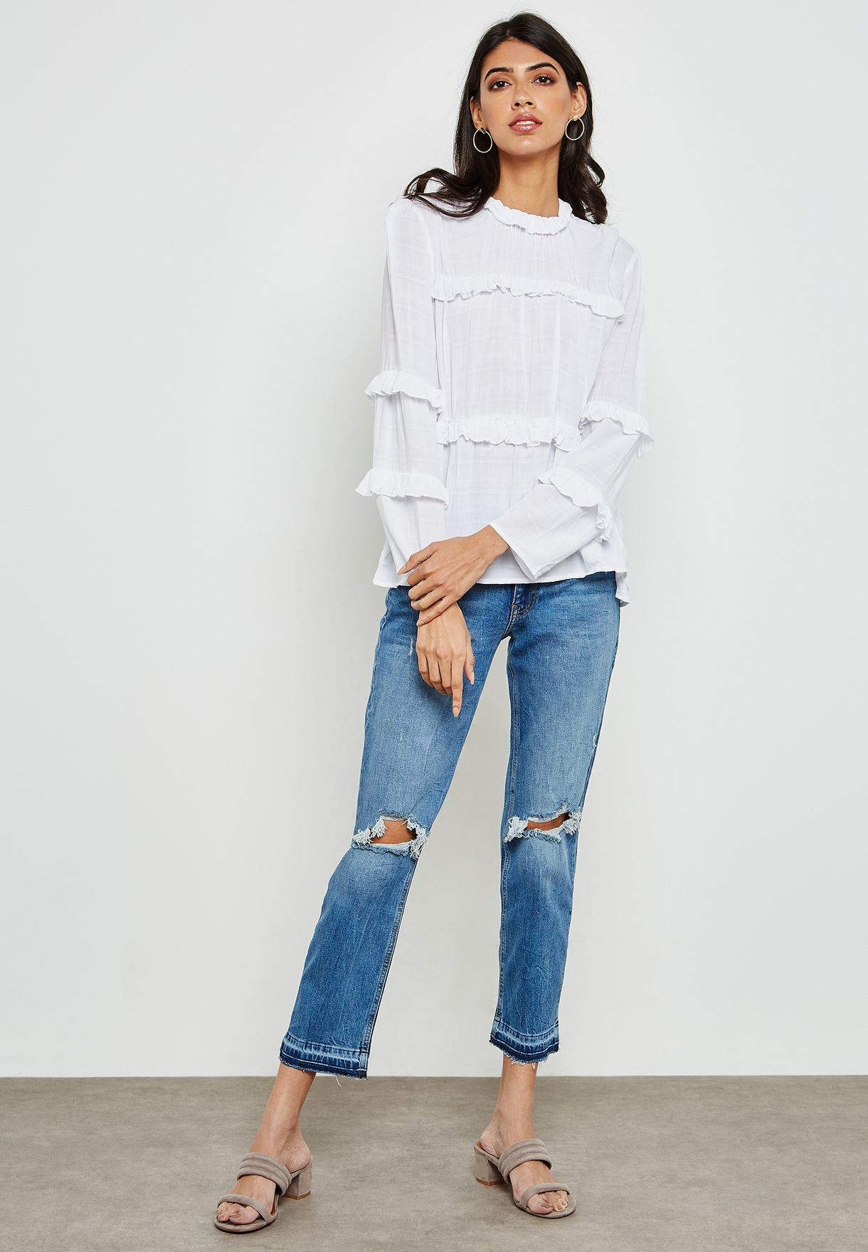 High Neck Ruffle Top