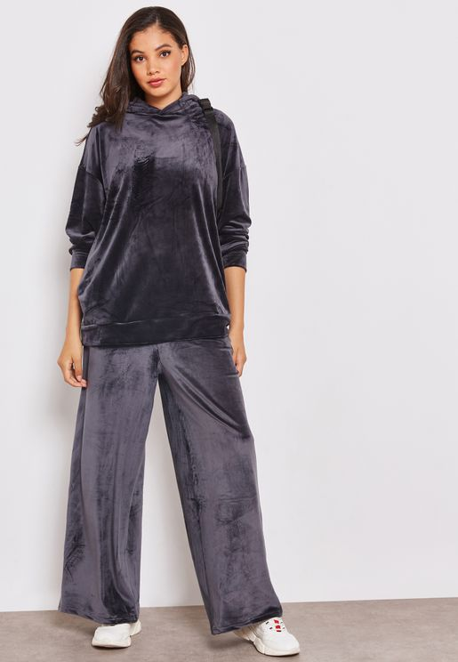 Velour Wide Leg Pants Co-ord