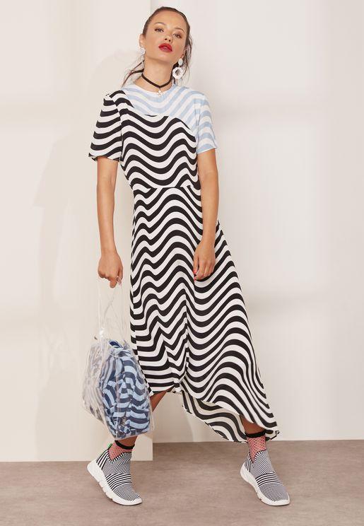 Contrast Wave Printed Asymmetric T-Shirt Dress