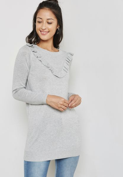 Ruffle Detail Longline Sweater