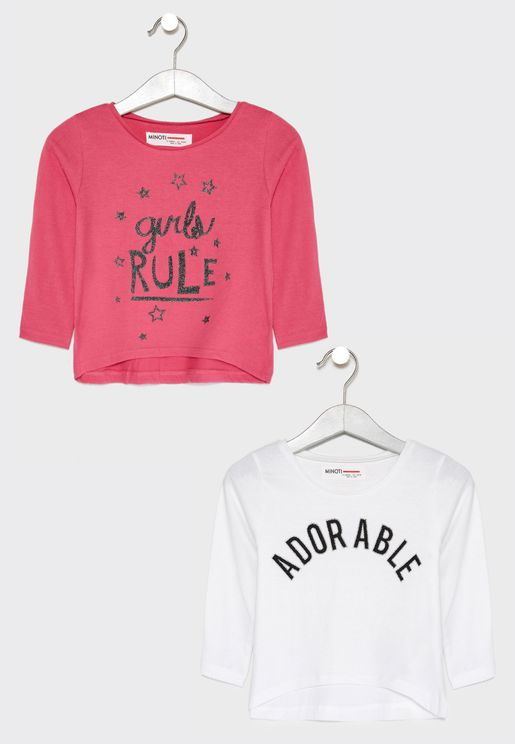 Kids 2 Pack Slogan Tops