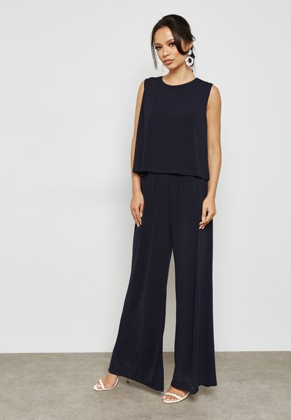 Overlay Wide Leg Jumpsuit
