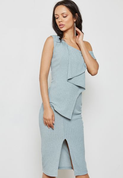 One Shoulder  Asymmetric Rib Knit Dress