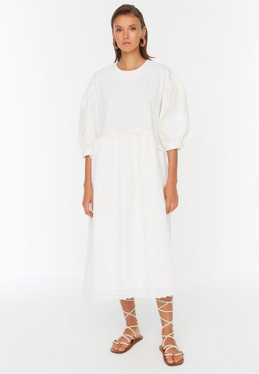 Lace Trim Puff Sleeve Dress