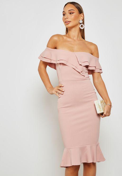 Double Ruffle Bardot Midi Dress with Flare Hem