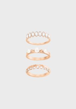 3 Pack Gangster Motif Rings