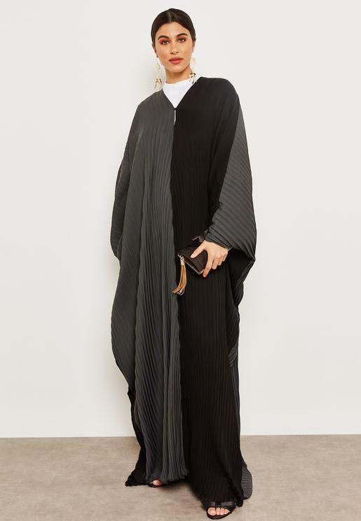 Colourblock Pleated Abaya